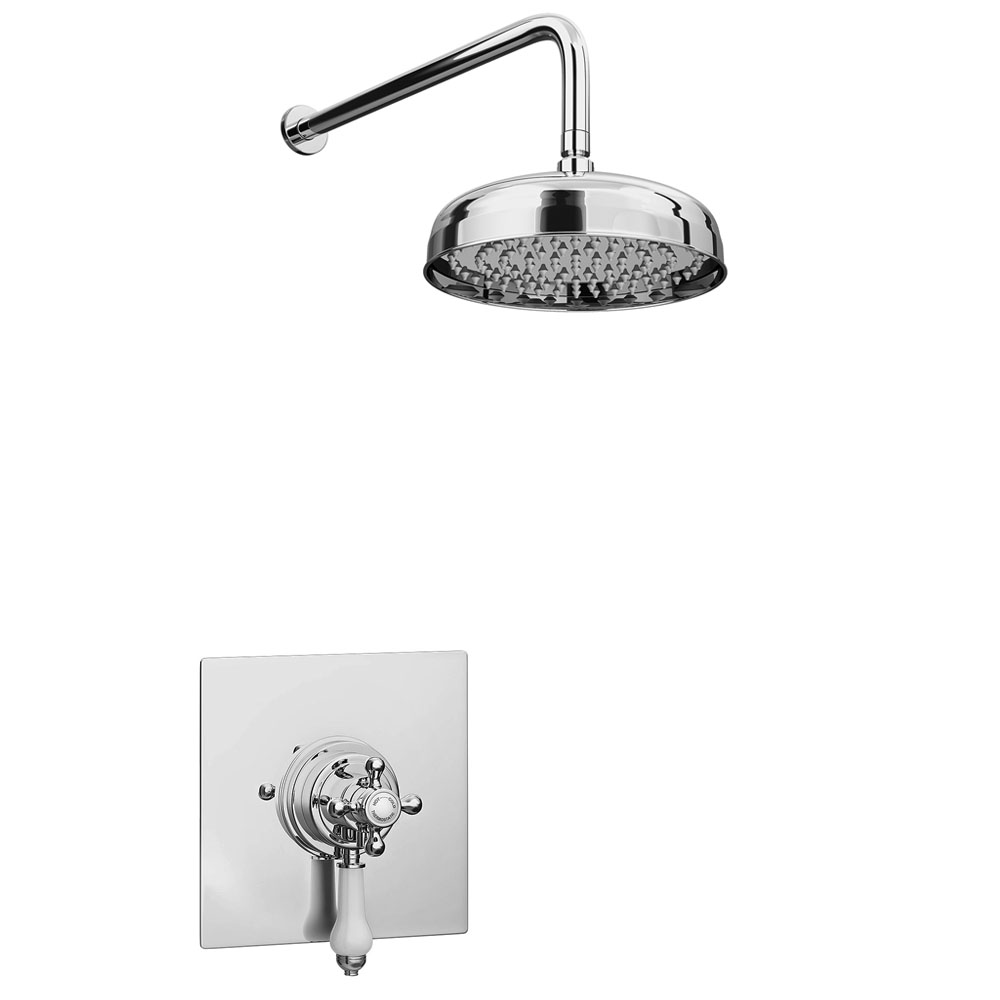 """Belmont Traditional Dual Concealed Thermostatic Shower Valve Inc. 8"""" Apron Fixed Head"""