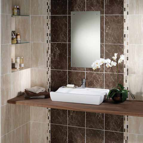 BCT Tiles - 10 Elgin Marbles Marron Wall Gloss Tiles - 248x398mm - BCT03670 Feature Large Image