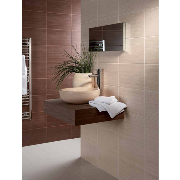 BCT Tiles - 10 Willow Beige Wall Satin Tiles - 248x398mm - BCT09870 Feature Large Image