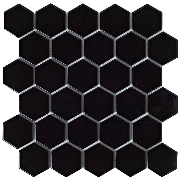 BCT Tiles Shades of Grey Hexagon Porcelain Black Mosaic Tiles - 300 x 300mm - BCT38313 Large Image