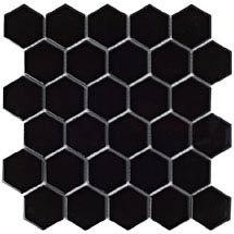 BCT Tiles Shades of Grey Hexagon Porcelain Black Mosaic Tiles - 300 x 300mm - BCT38313 Medium Image