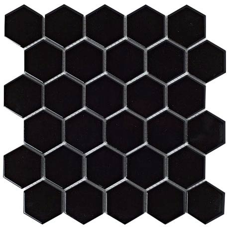 BCT Tiles Shades of Grey Hexagon Porcelain Black Mosaic Tiles - 300 x 300mm - BCT38313