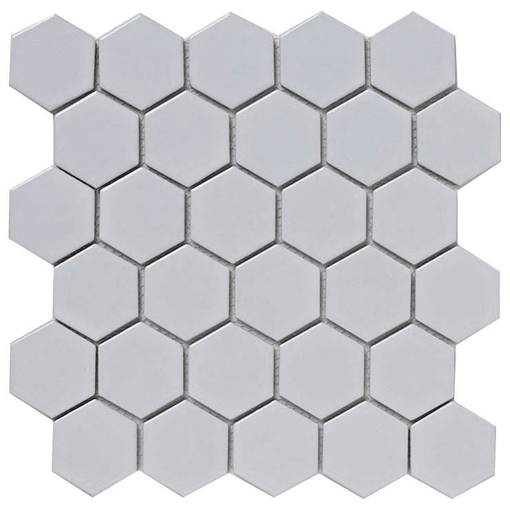 BCT Tiles Shades of Grey Hexagon Porcelain White Mosaic Tiles - 300 x 300mm - BCT38320 Large Image