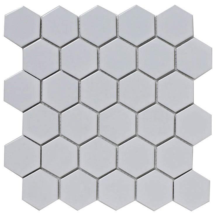 BCT Tiles Shades of Grey Hexagon Porcelain White Mosaic Tiles - 300 x 300mm - BCT38320 Large Image