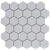 BCT Tiles Shades of Grey Hexagon Porcelain White Mosaic Tiles - 300 x 300mm - BCT38320 Medium Image