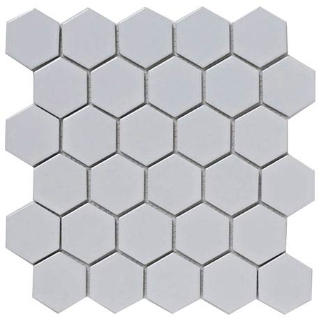 BCT Tiles Shades of Grey Hexagon Porcelain White Mosaic Tiles - 300 x 300mm - BCT38320
