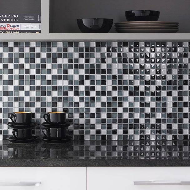 BCT Tiles Shades of Grey Glass Mix Mosaic Tiles - 300 x 300mm - BCT38337  Profile Large Image
