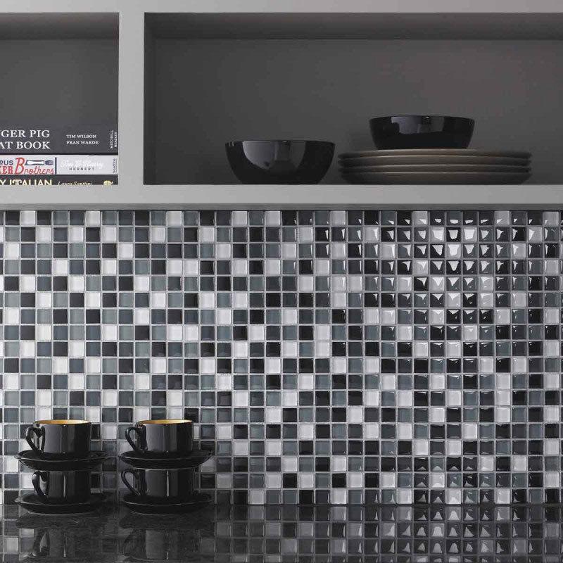 BCT Tiles Shades of Grey Glass Mix Mosaic Tiles - 300 x 300mm - BCT38337 Large Image