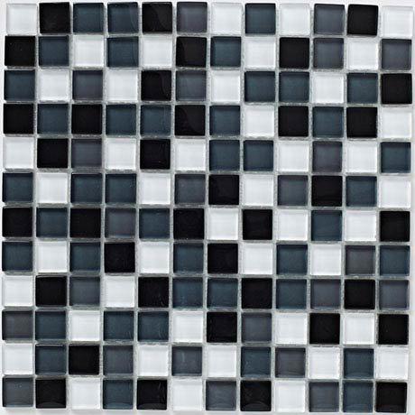 BCT Tiles Shades of Grey Glass Mix Mosaic Tiles - 300 x 300mm - BCT38337