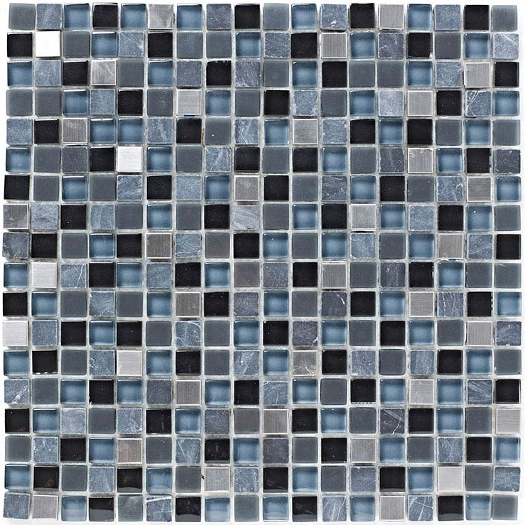 BCT Tiles Shades of Grey Stone/Glass Grey Mix Mosaic Tiles - 300 x 300mm - BCT38344 Large Image