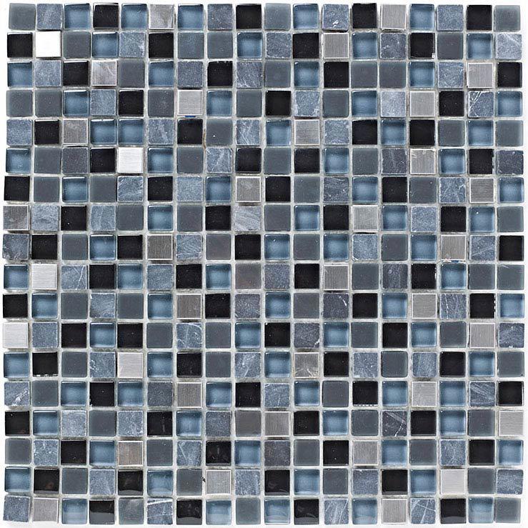 Grey Stone / Glass Grey Mix Mosaic Tile
