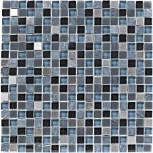 BCT Tiles Shades of Grey Stone/Glass Grey Mix Mosaic Tiles - 300 x 300mm - BCT38344