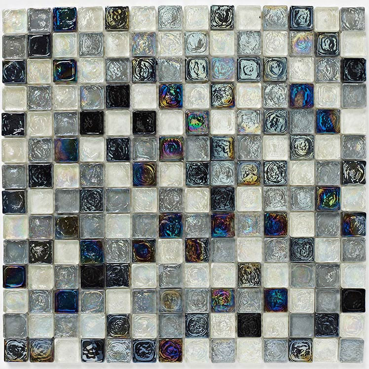 BCT Tiles Shades of Grey Hammered Glass Mosaic Tiles - 305 x 305mm - BCT38351  Profile Large Image