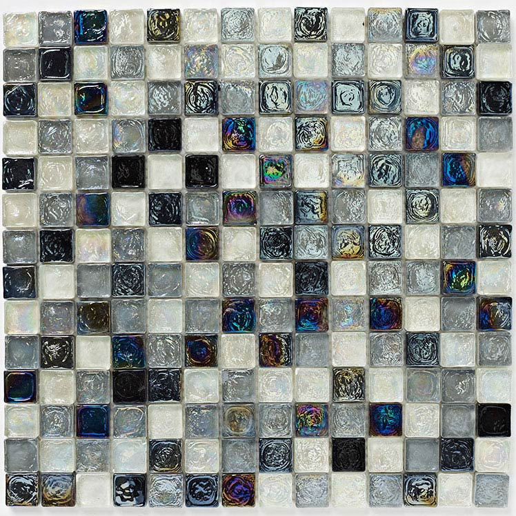 BCT Tiles Shades of Grey Hammered Glass Mosaic Tiles - 305 x 305mm - BCT38351 Large Image