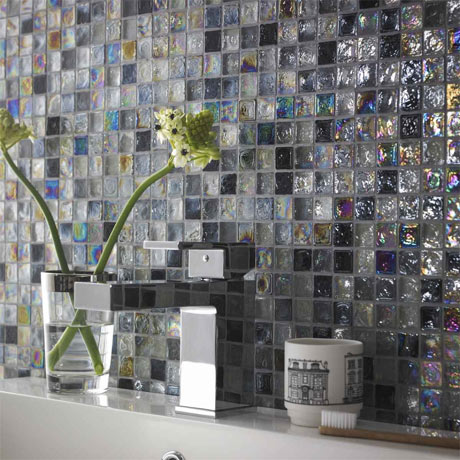 BCT Tiles Shades of Grey Hammered Glass Mosaic Tiles - 305 x 305mm - BCT38351