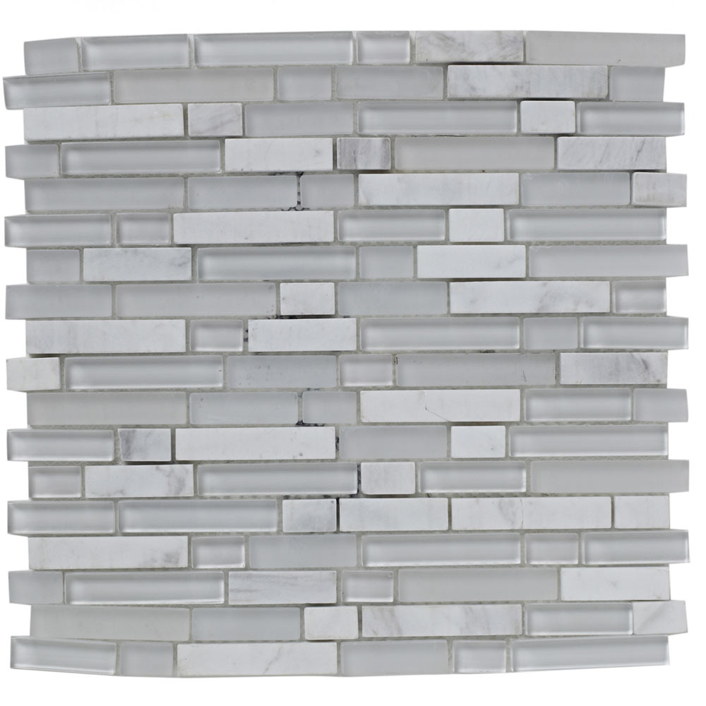 BCT Tiles Shades of Grey White Linear Glass Stone Mix Mosaic Tiles - 305 x 305mm - BCT38368  Profile Large Image