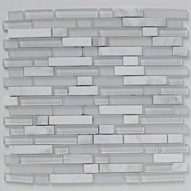 BCT Tiles Shades of Grey White Linear Glass Stone Mix Mosaic Tiles - 305 x 305mm - BCT38368 Large Im