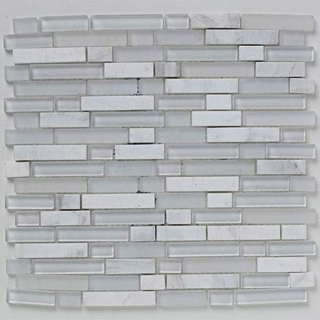 BCT Tiles Shades of Grey White Linear Glass Stone Mix Mosaic Tiles - 305 x 305mm - BCT38368