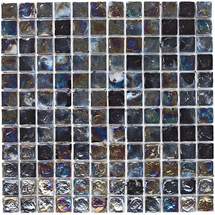 BCT Tiles Shades of Grey Black Hammered Glass Mosaic Tiles - 305 x 305mm - BCT38375 Large Image