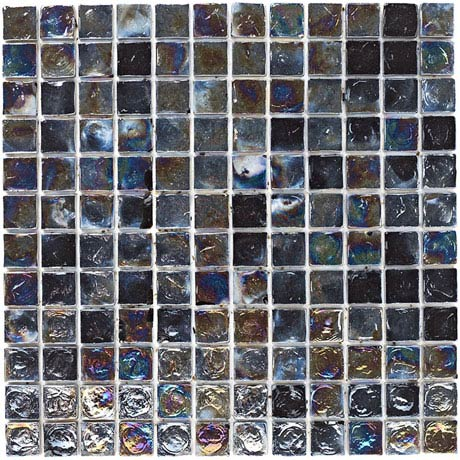 BCT Tiles Shades of Grey Black Hammered Glass Mosaic Tiles - 305 x 305mm - BCT38375