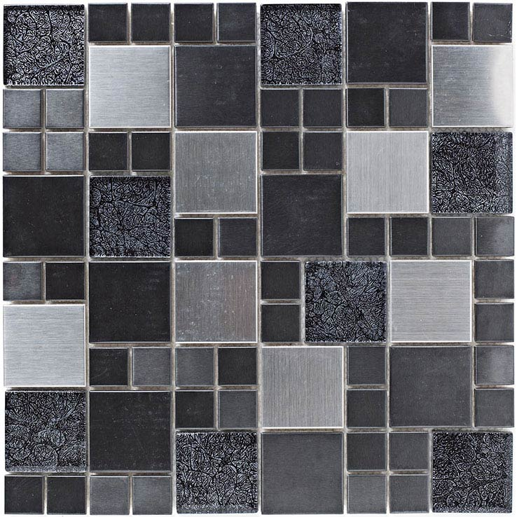 BCT Tiles Shades of Grey Metal and Foil Glass Black Mix Mosaic Tiles - 298 x 298mm - BCT38382 Large