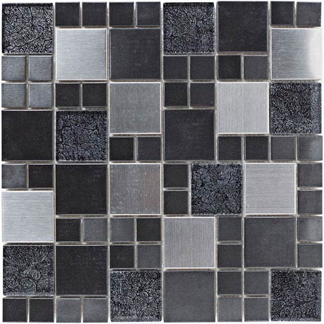 BCT Tiles Shades of Grey Metal and Foil Glass Black Mix Mosaic Tiles - 298 x 298mm - BCT38382