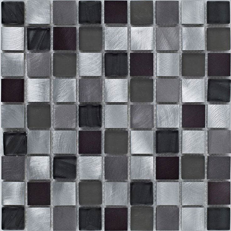 BCT Tiles Shades of Grey Silver Metal/Glass Mix Mosaic Tiles - 305 x 305mm - BCT38399 Large Image