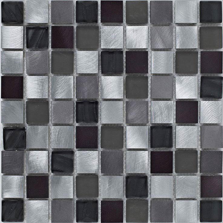 BCT Tiles Shades of Grey Silver Metal/Glass Mix Mosaic Tiles - 305 x 305mm - BCT38399 Large Image