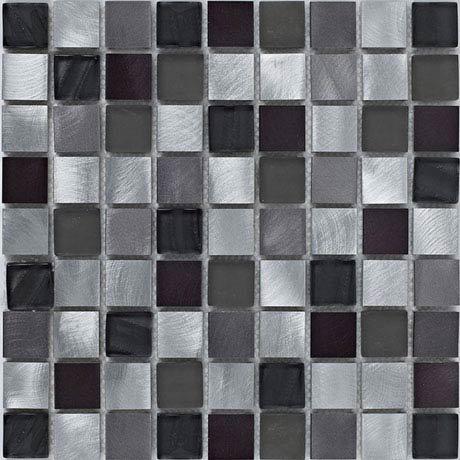 BCT Tiles Shades of Grey Silver Metal/Glass Mix Mosaic Tiles - 305 x 305mm - BCT38399