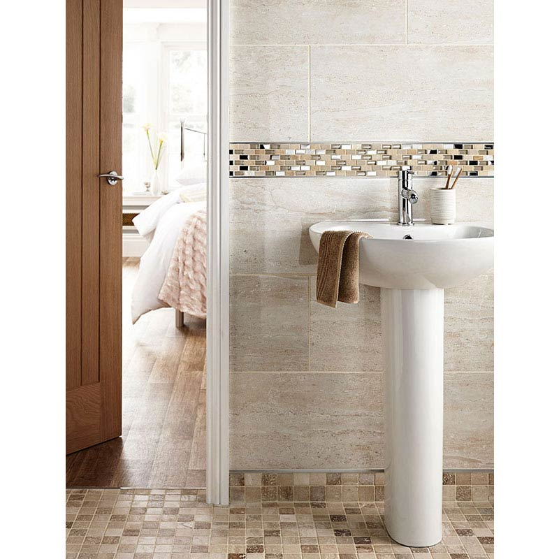 BCT Tiles Naturals Stone/Glass/Metal/Pearl Mix Mosaic Tiles - 300 x 300mm - BCT38498  Feature Large