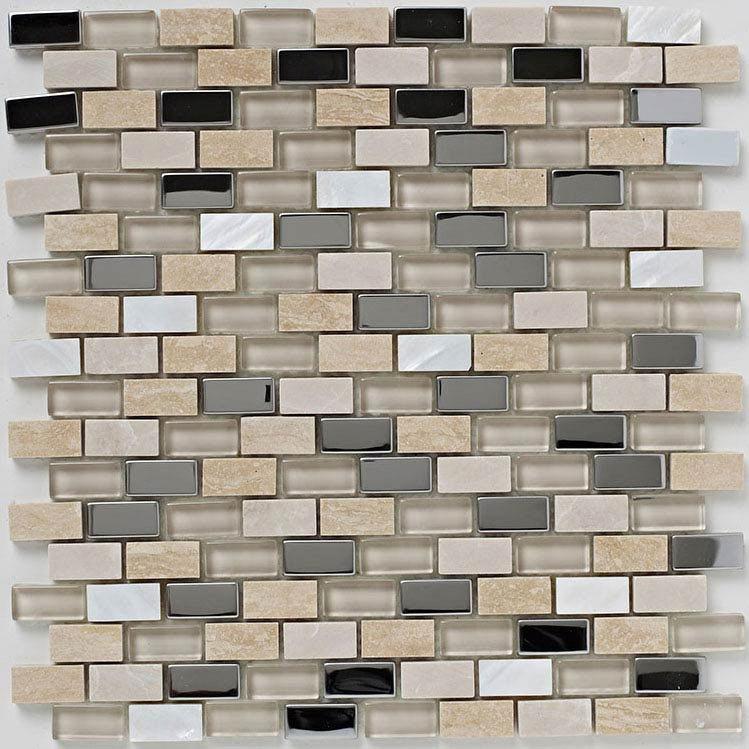 BCT Tiles Naturals Stone/Glass/Metal/Pearl Mix Mosaic Tiles - 300 x 300mm - BCT38498  Feature Large Image