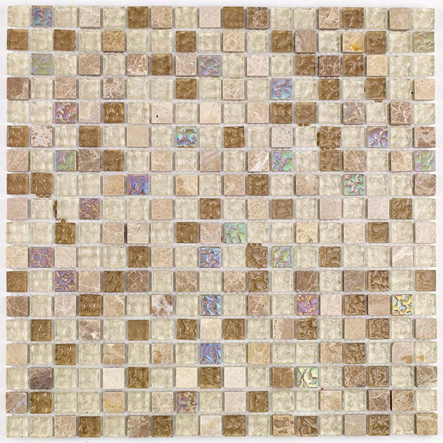 BCT Tiles Naturals Glass and Stone Natural Mix Mosaic Tiles - 300 x 300mm - BCT38504 Large Image