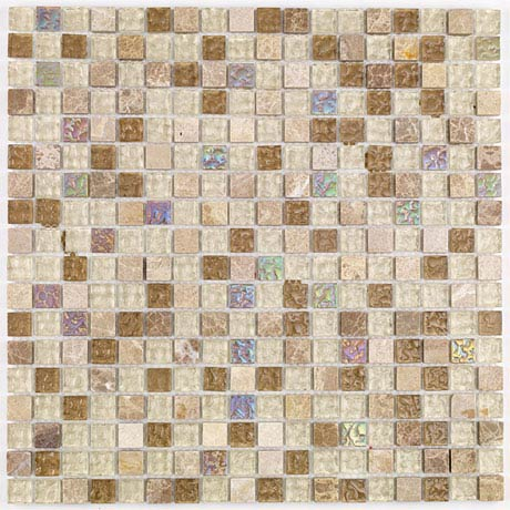 BCT Tiles Naturals Glass and Stone Natural Mix Mosaic Tiles - 300 x 300mm - BCT38504