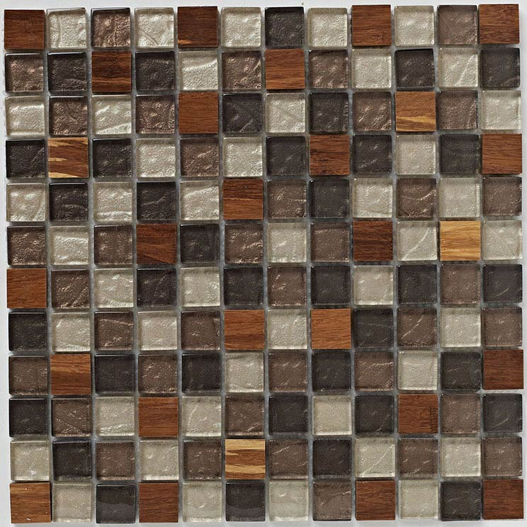 BCT Tiles Naturals Glass/Stone/Wood Mix Mosaic Tiles - 300 x 300mm - BCT38511 Large Image