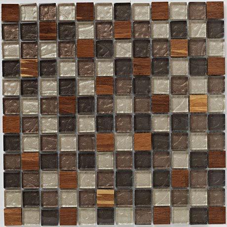 BCT Tiles Naturals Glass/Stone/Wood Mix Mosaic Tiles - 300 x 300mm - BCT38511