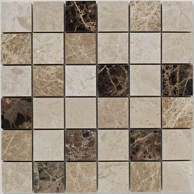BCT Tiles Naturals Beige and Emperador Polished Mosaic Tiles - 305 x 305mm - BCT38528 Large Image