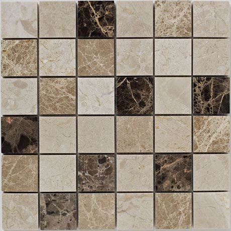 BCT Tiles Naturals Beige and Emperador Polished Mosaic Tiles - 305 x 305mm - BCT38528