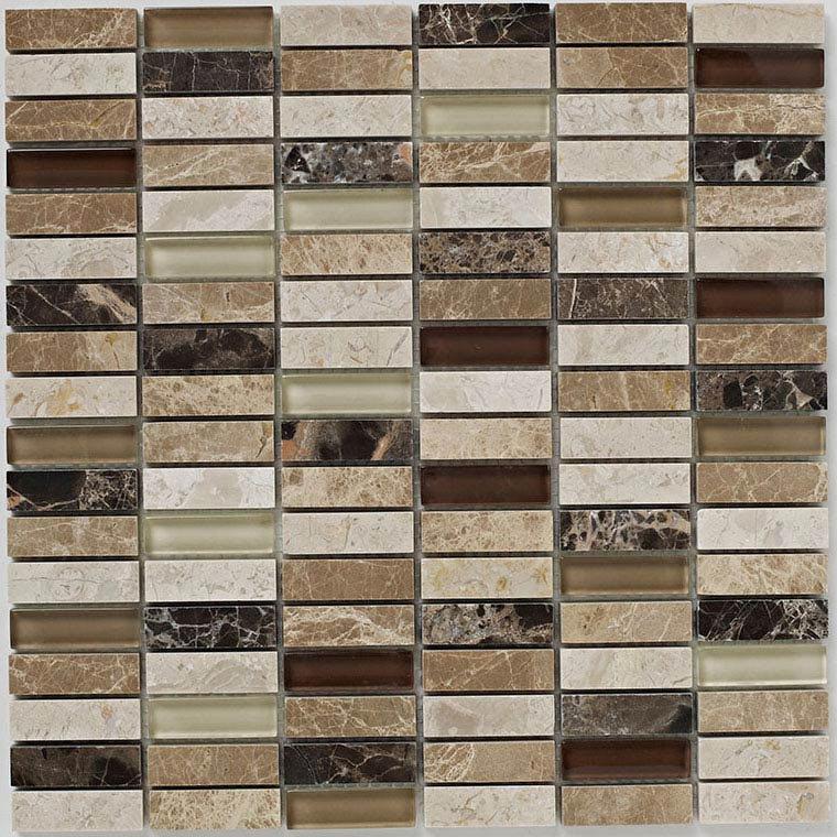 BCT Tiles Naturals Emperador Glass Mix Polished Mosaic Tiles - 305 x 305mm - BCT38535  Profile Large Image