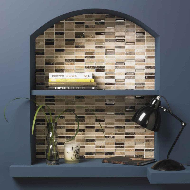BCT Tiles Naturals Emperador Glass Mix Polished Mosaic Tiles - 305 x 305mm - BCT38535 Large Image