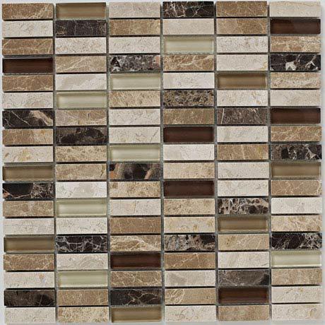 BCT Tiles Naturals Emperador Glass Mix Polished Mosaic Tiles - 305 x 305mm - BCT38535