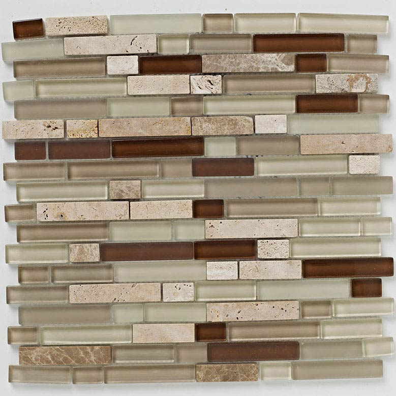 BCT Tiles Naturals Linear Glass Stone Mix Mosaic Tiles - 300 x 300mm - BCT38542 Large Image