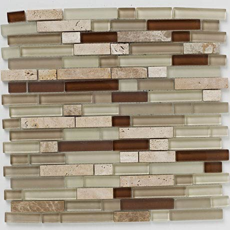 BCT Tiles Naturals Linear Glass Stone Mix Mosaic Tiles - 300 x 300mm - BCT38542