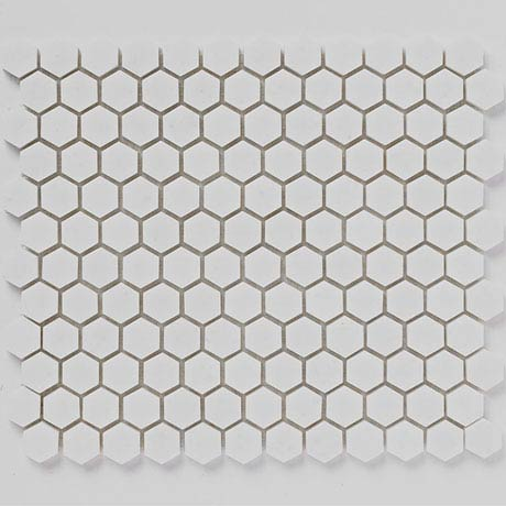 BCT Tiles Luxe White Hexagon Stone Mosaic Tiles - 305 x 265mm - BCT38559