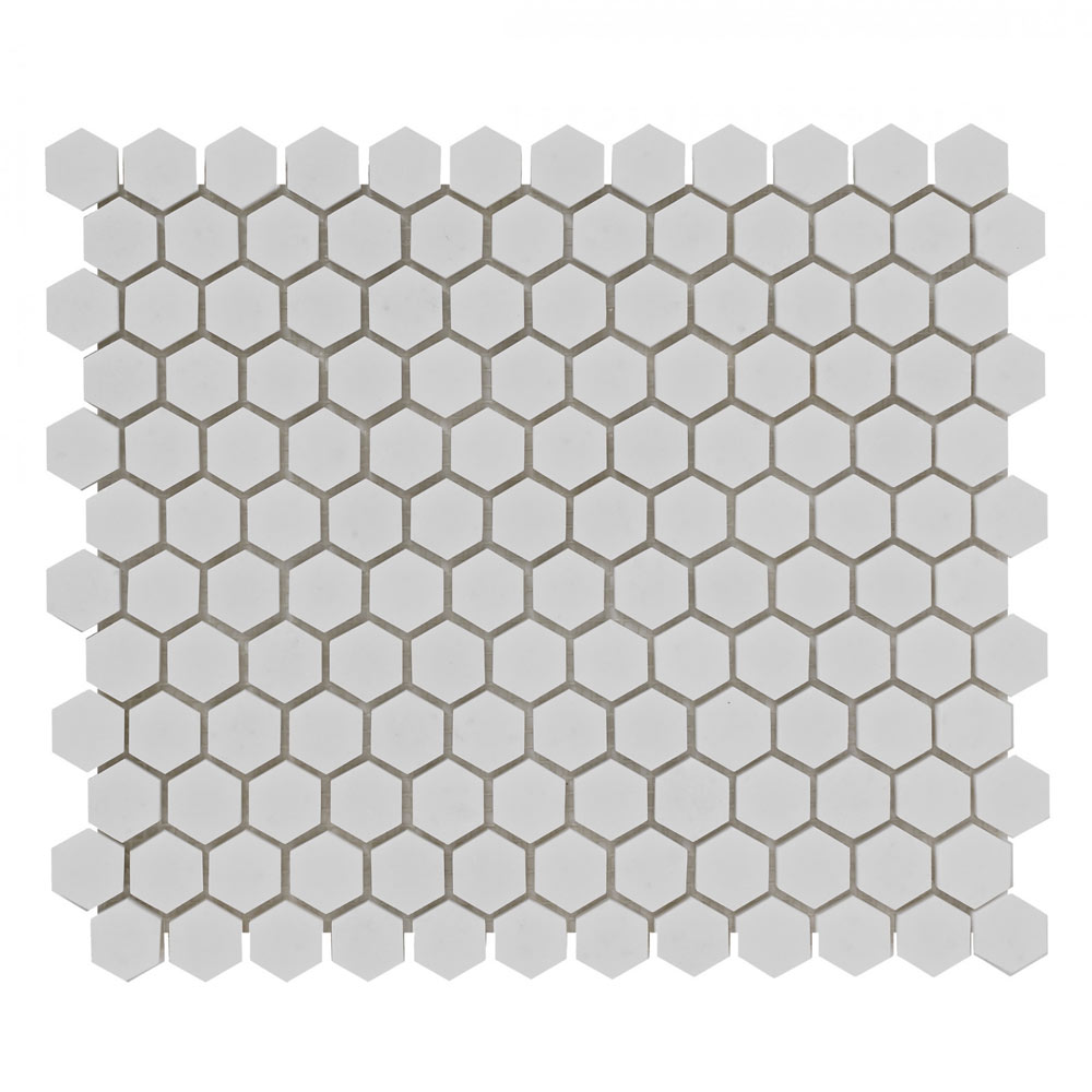 BCT Tiles Luxe White Hexagon Stone Mosaic Tiles - 305 x 265mm - BCT38559  Profile Large Image
