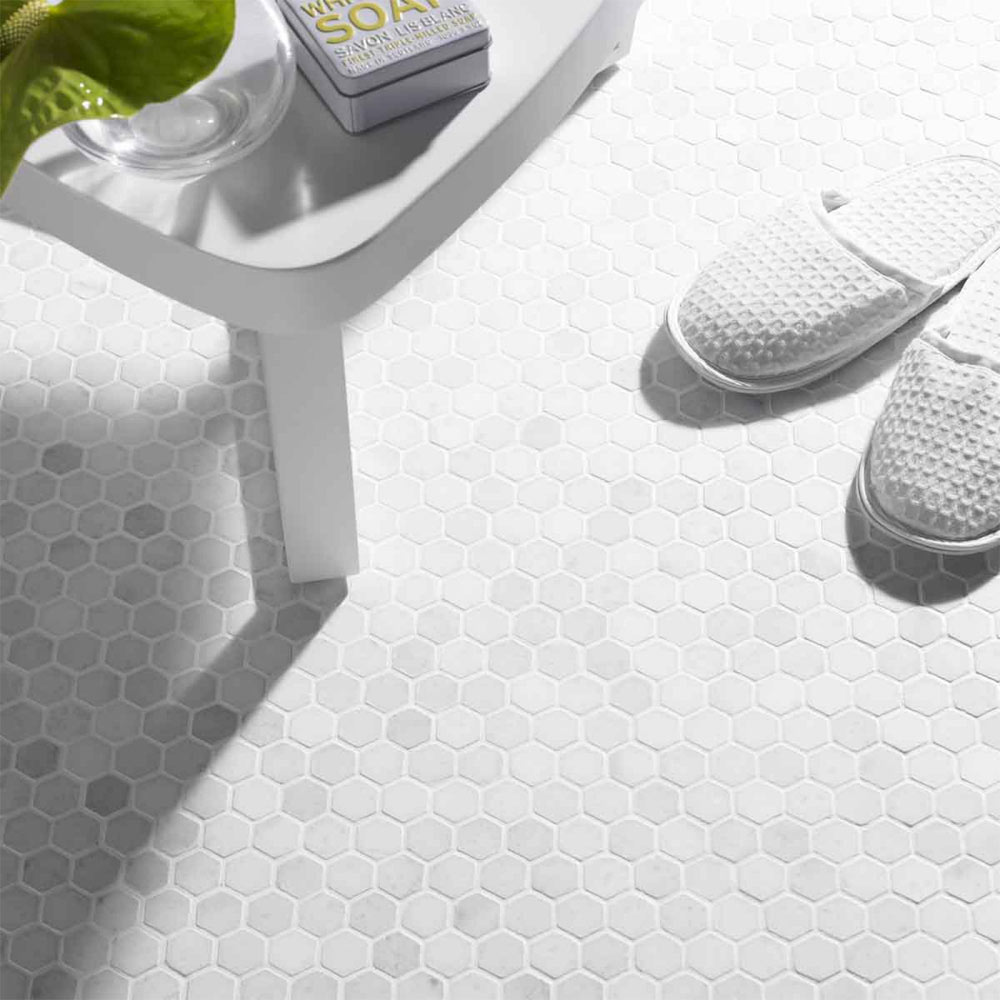BCT Tiles Luxe White Hexagon Stone Mosaic Tiles - 305 x 265mm - BCT38559 Large Image