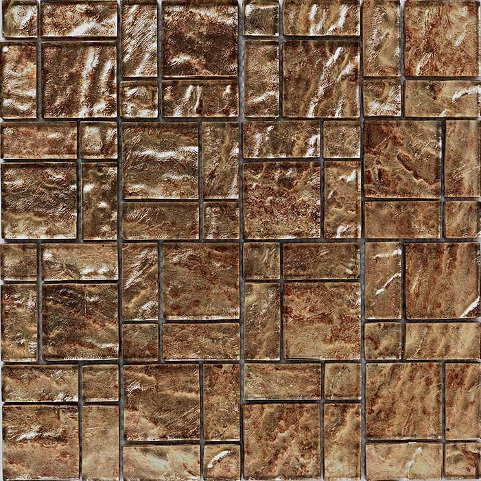 BCT Tiles Luxe Bronze Foil Glass Mosaic Tiles - 300 x 300mm - BCT38627  Profile Large Image