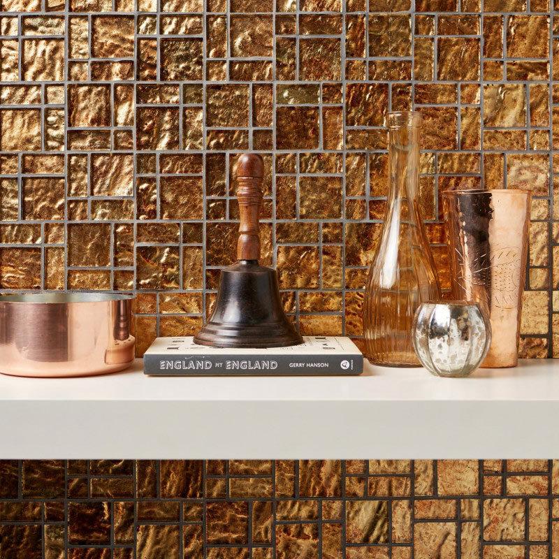BCT Tiles Luxe Bronze Foil Glass Mosaic Tiles - 300 x 300mm - BCT38627 Large Image