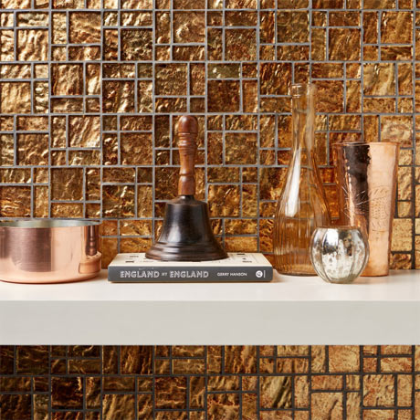 BCT Tiles Luxe Bronze Foil Glass Mosaic Tiles - 300 x 300mm - BCT38627