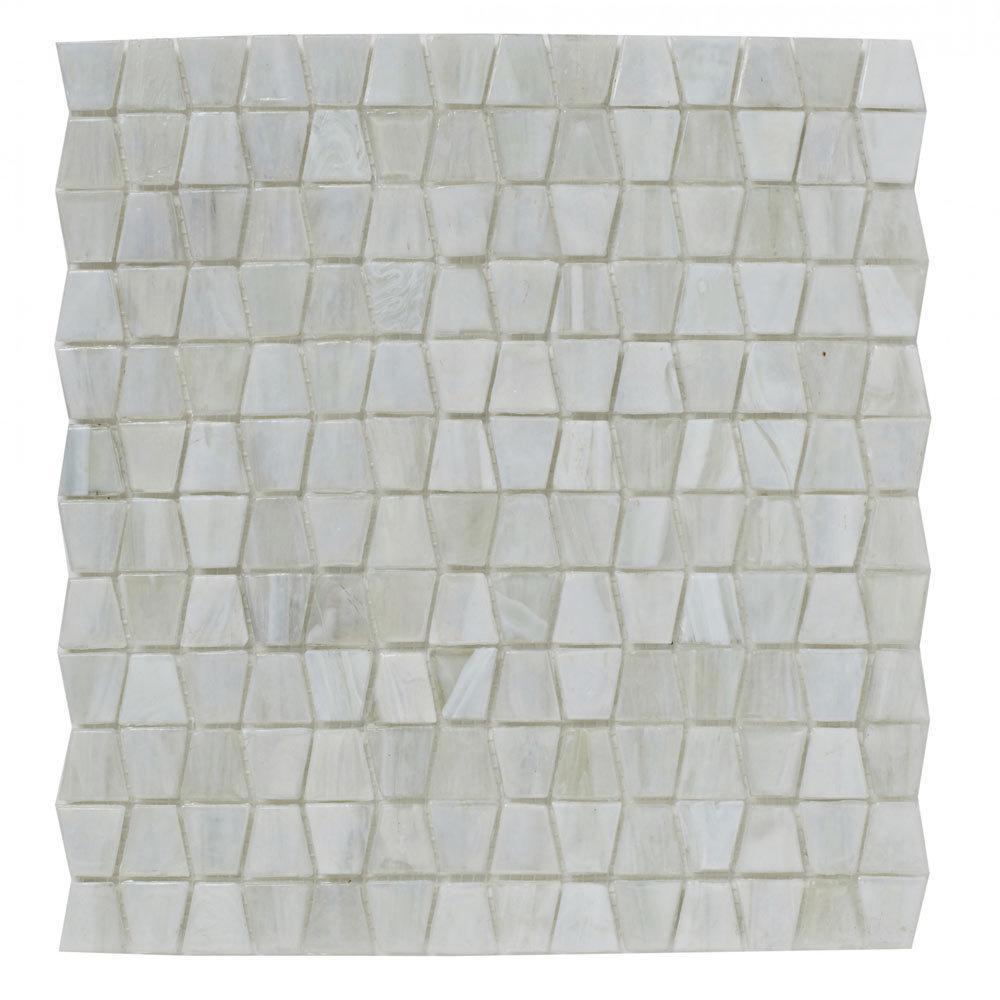 BCT Tiles Luxe White Glacier Glass Mosaic Tiles - 300 x 300mm - BCT38634  Profile Large Image