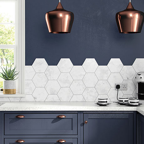 Massa Carrara Hexagon Matt White Marble Porcelain Multi-Use Tiles - 172 x 202mm